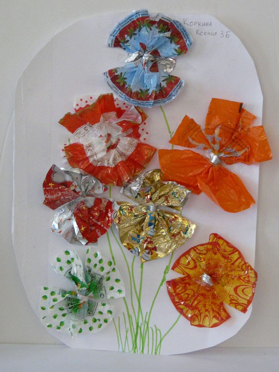 Украшение из фантиков от конфет